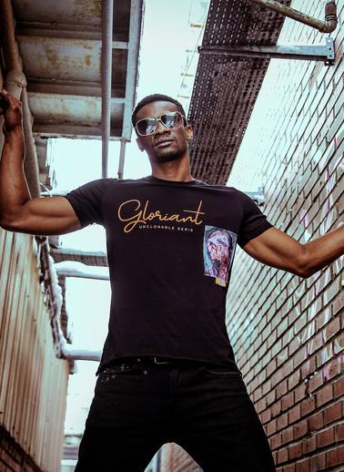 XHAN Siyah Baskılı Işlemeli T-Shirt 1Kxe1-44585-02 Siyah